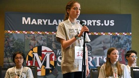 Storrie Kulynych-Irvin competes in the inaugural Maryland Sports Spelling Bee in March. (Paul W. Gillespie / Capital Gazette)